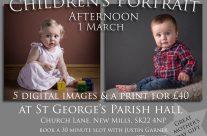 Children's portrait session on 1 March at St George's Parish Hall.