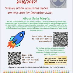 St Mary's Primary 2021 admissions now open.